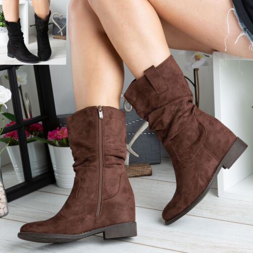 Womens Ladies Mid Calf Rouched Zip Slouch Winter Comfy Office Boots Shoes Size