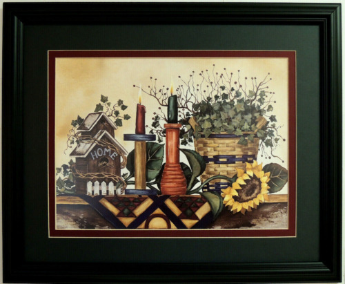 BIRDHOUSE PICTURE SUNFLOWER COUNTRY BASKET LAURIE KORSGADEN MATTED FRAMED 16X20