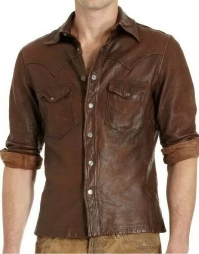 Men's Shirt Jacket Brown Real Soft Genuine Waxed Leather Shirt All Sizes