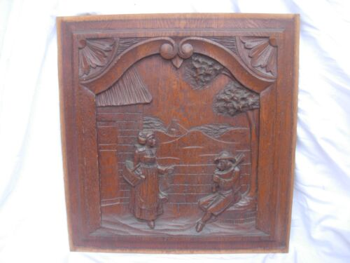 ANTIQUE FRENCH CARVED OAK WOOD PANEL,LATE 19th CENTURY.