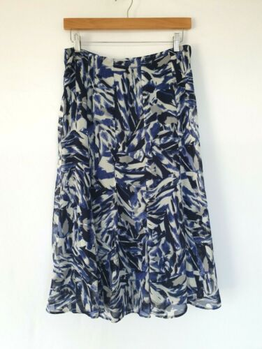 'MH Merien Hall' Size 10 White & Blue Abstract Printed Sheer Overlay Skirt