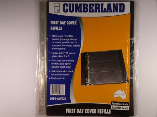 Cumberland First Day Cover Refills 3 Division Packet of 10 Pages