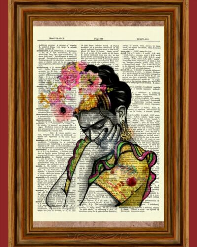 Frida Kahlo Vintage Dictionary Art Print Book Picture Poster