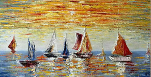 ZWPT1201charmed abstract sail boat  handmade painted oil painting art on Canvas