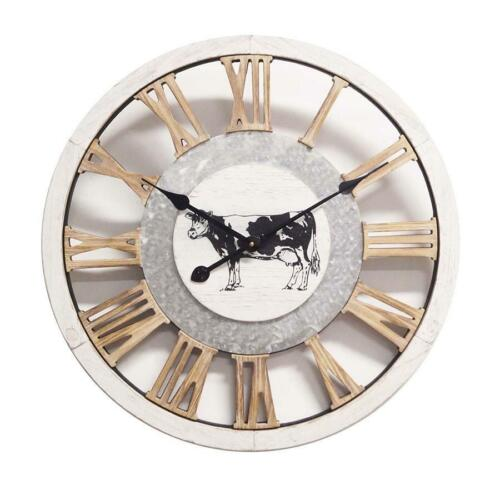 Large French Country Provincial Farm Timber Cow Clock Hampton Wall Decor 60x5cm