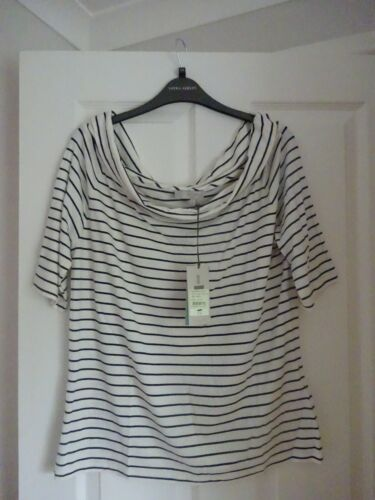 HOBBS GAIL IVORY NAVY STRIPE BARDOT TOP. XL UK 16-18, EUR 42-46, US 12-14. BNWT