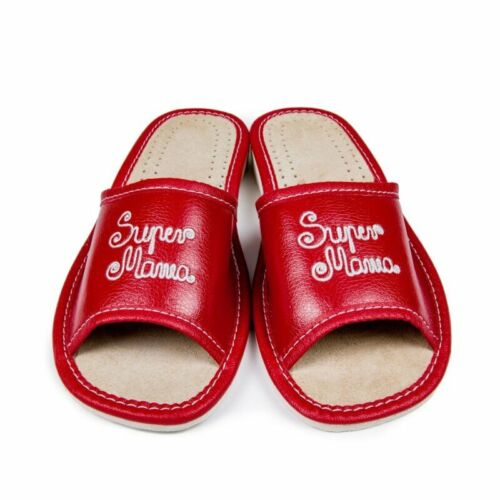 Womens Ladies Slippers Sandals Home Shoes Natural Leather Kapcie Super Mama