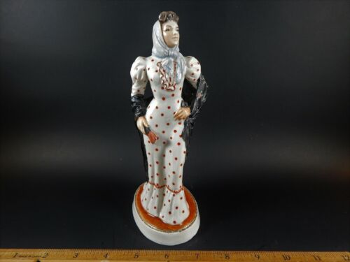 Antique Continental or Russian Porcelain Figure of Woman with Shawl and Scarf