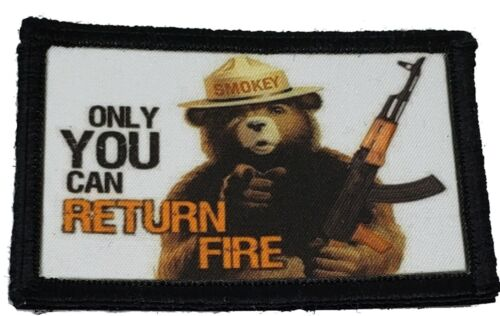 Smokey the Bear AK47 Morale Patch Tactical Military Army Hook Flag USAArmy - 48824