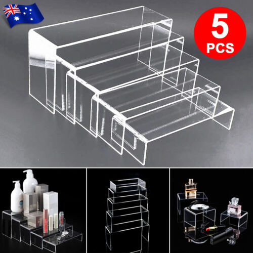 5PCS Jewellery Display Makeup Super Clear Acrylic Riser Stand Holders Organisers