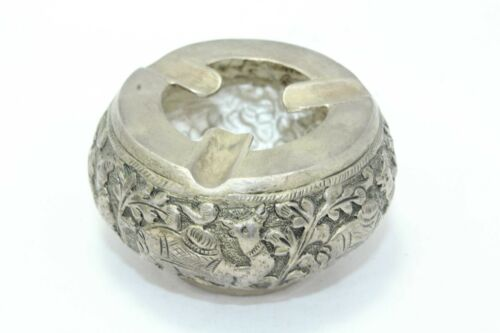 Handmade Small Ashtray Cigarette Stand Solid SILVER Hand Engraved Animal Camel