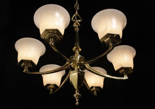 Original Art Deco Light fixture chandelier bronze & real alabaster circa 1930