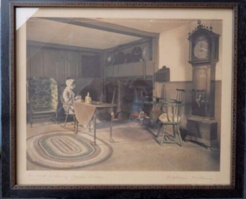 Wallace Nutting - Hand Colored & Signed Print - An Old Colony Home Room