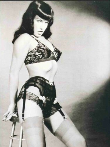 Bettie Page Black Garter Sit on Stool  B/W  18X24 Poster Free Shipping #1011