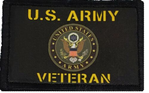 US ARMY Veteran Patch Tactical  Military USA Badge Hook Flag Army - 48824