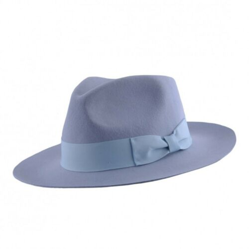 Felt Fedora Baby Blue Stiff and Snap Brim 100% Wool  Trilby Hat With Wide Band