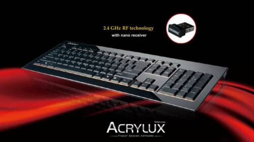 Enermax Acrylux Wireless Nano Receiver Keyboard Ultra-Thin Slim, KB009W-B, Black