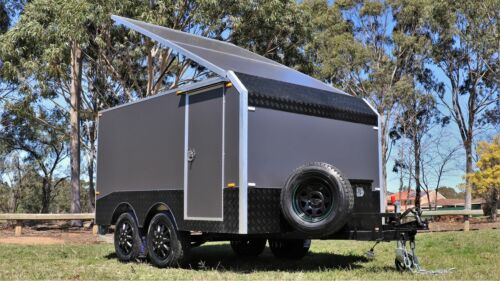 Charcoal Grey Dual Axle Enclosed Motorbike Work Trailer Carrier