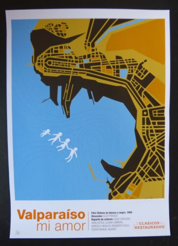 VALPARAISO MY LOVE Signed Cuban Screen-print Poster for CHILE Movie / CUBA ART