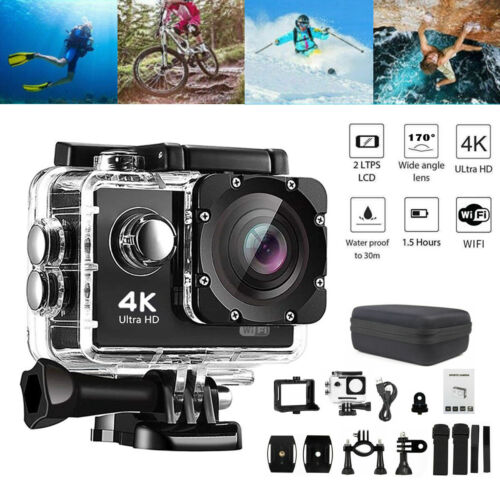HD 4K 1080P WIFI Waterproof Sports Action Camera Recorder 170° Degree Diving