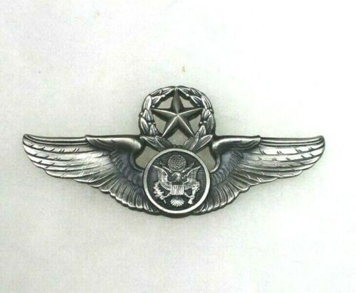 """US Vietnam Era STERLING Master Pilot Wings 3"""" 22-M Marked. NICE Clutch Back AC73Medals, Pins & Ribbons - 36063"""