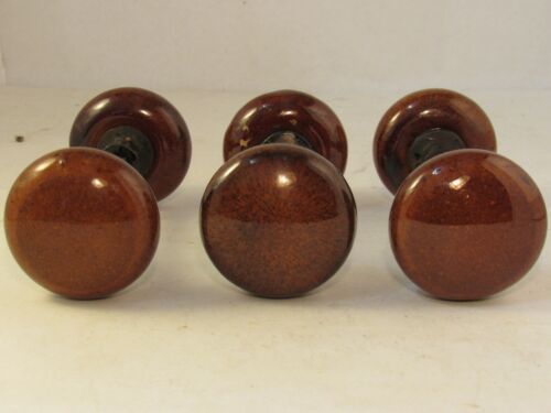 1 Pair of Rare 1800's Antique Speckled Ceramic Door Knobs Like Bennington Swirl