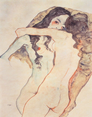 Egon Schiele Two Women Hugging Canvas Print 16 x 20    #4314