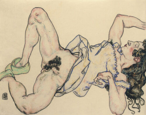 Egon Schiele Woman Lying With Green Slippers Print 11 x 14 #4674