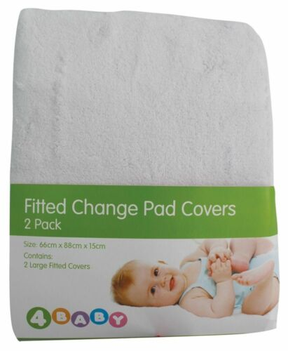 4Baby Change Pad Cover White 2 Pack