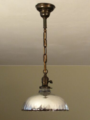 OUTSTANDING Antique Quilted Mercury Glass Light Fixture Professionally Restored