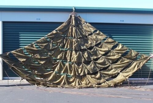 Used US Military 22' Ring Slot Cargo Parachute with ALL Suspension Lines, UncutParachutes - 70990