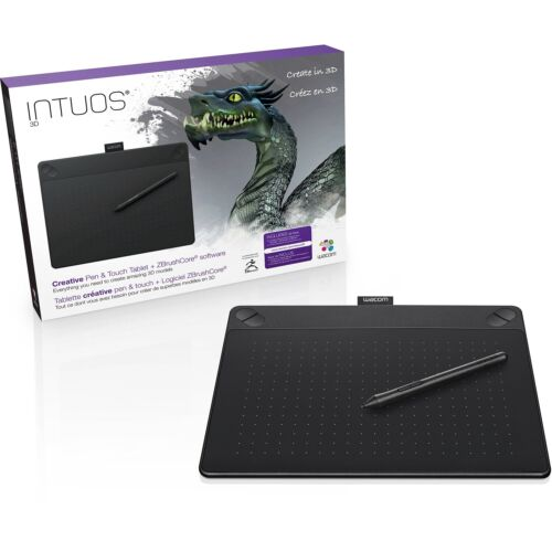 Wacom Intuos Wired Medium Touch Drawing Tablet Board and Wireless 3D Art Pen