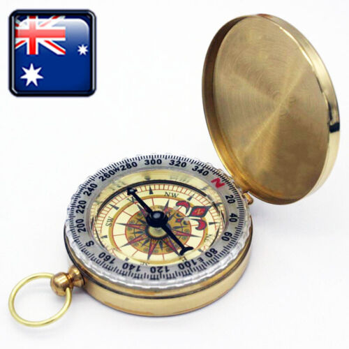 Brass Gold Pocket Compass for Travel Camping Hiking Navigation Small Handy