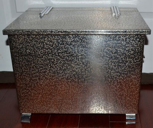 Antique Art Deco Embossed Chrome Trunk Box Hinged Top Ring Handles Feet