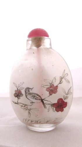 Chinese Inside Painted Glass Snuff Bottle Birds On Branch And Landscape Pink