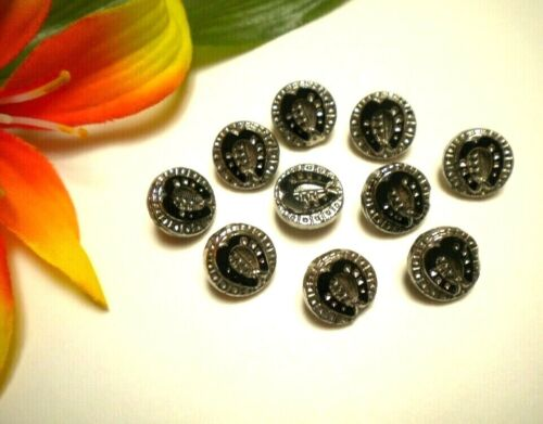 LOT of ANTIQUE VICTORIAN BLACK GLASS HORSE SHOE SILVER LUSTER PICTURE BUTTONS
