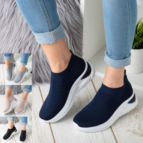 Womens Sock Wedge Trainers Ladies Sneakers Slip On Classic Jogging Pumps Shoe