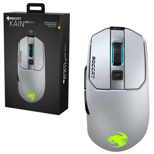 Roccat Kain 202 AIMO White Wiresless RGB Gaming Mouse NEW