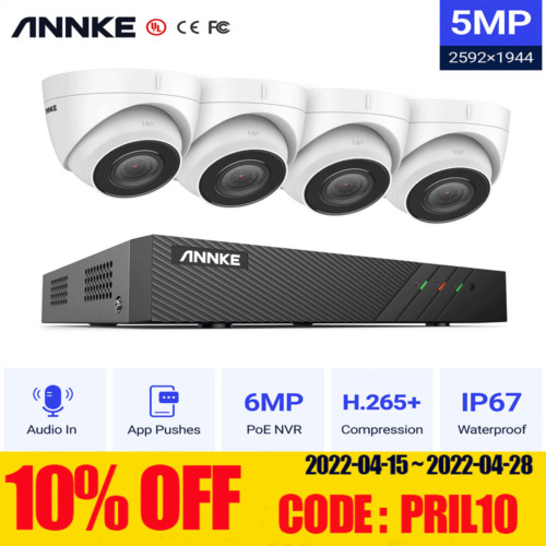 ANNKE 8CH 6MP H.265+ NVR POE Outdoor 5MP HD Home Security CCTV Camera System IR