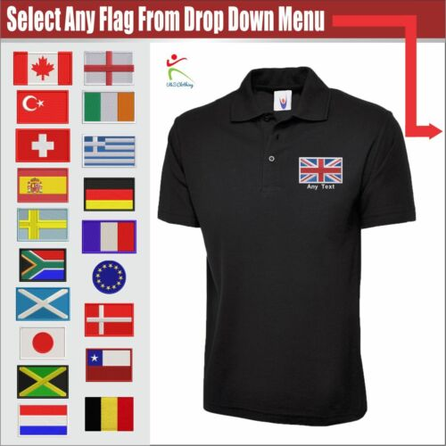 Personalised Countries FLAGS Logo Black Mens Polo Shirt Free Text Embroidered