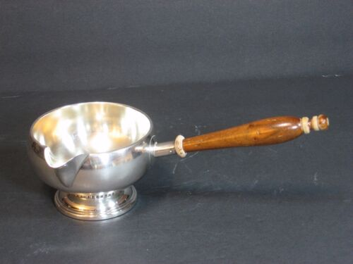 Amston Sterling Silver Art Deco Brandy Warmer Footed Wood Handle Marked Rare EUC