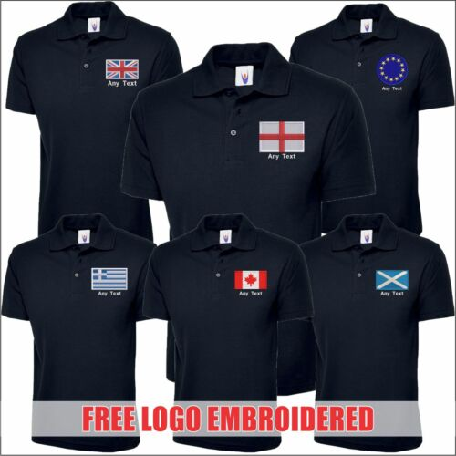 Personalised Countries FLAGS Logo Navy Polo Shirts For Men Free Text Embroidered