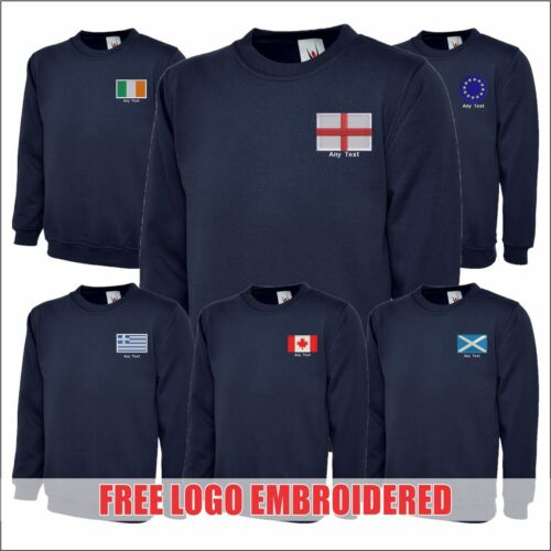 Personalised Free Logo Embroidered Countries Flags Customised Mens Sweatshirt