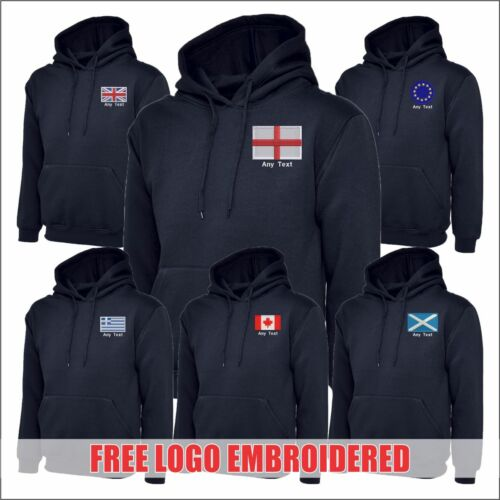 Countries FLAGS Personalised Sweatshirt Free Logo Embroidered NAVY Mens Hoodies