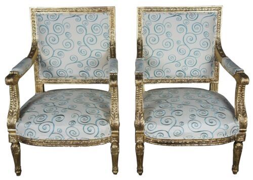 Antique 19th Century Louis XVI Fauteuil Arm Chairs Neoclassical French Accent