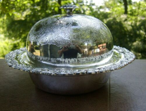 Vintage 3 Pc. Silverplate Dome Covered Bowl  SP on Copper Sheffield Reproduction