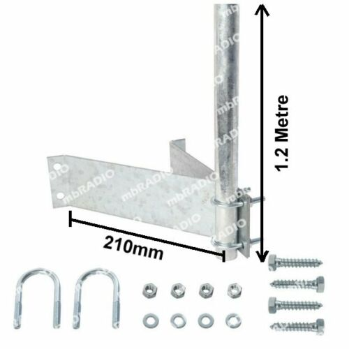 1.2M TV ANTENNA MAST FOR EAVE/FASCIA WITH MOUNTING HARDWARE