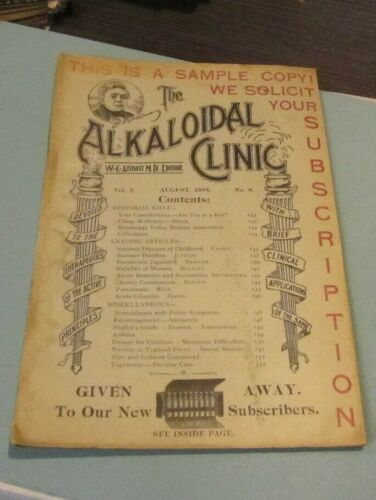 August 1895 The Alkaloidal Clinic Antique Medical Journal Monarch Bicycle Ad