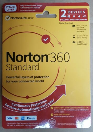 NORTON 360 STANDARD 2 DEVICE 1 YEAR PROTECTION WIN IOS MAC ANDROID