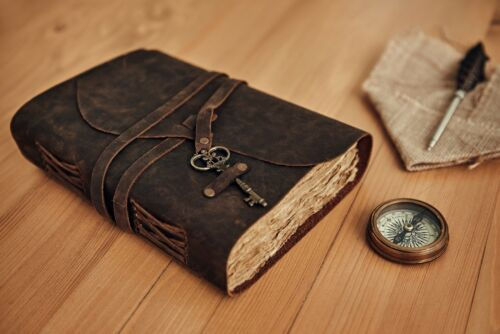 Vintage Genuine Leather Journal Deckle Edge Paper Handmade Leather bound Journal <br/> ✔LOOKS LIKE IT WAS PULLED FROM HISTORY✔WITH BURLAP BAG